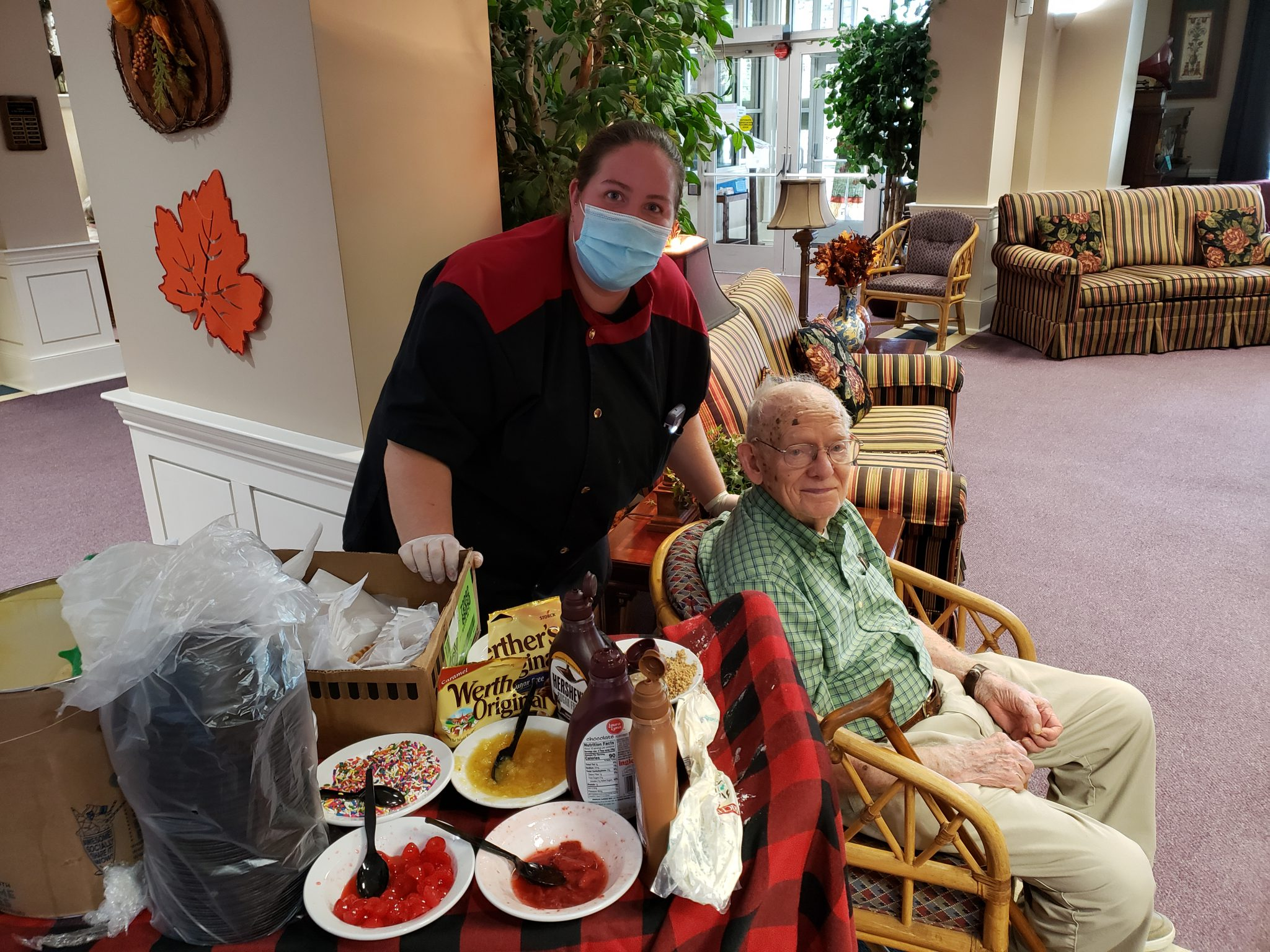 Ice cream cart with B.Campbell scaled - CELEBRATING ASSISTED LIVING WEEK: HAND SCOOPED ICE CREAM TREAT, WITH ALL THE FIXIN'S. THANK YOU DIETARY DEPARTMENT.