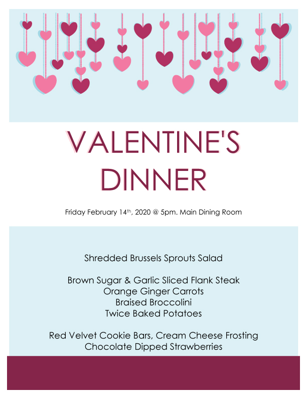 Windsor Gardens Assisted Living Valentine's Day Dinner Menu
